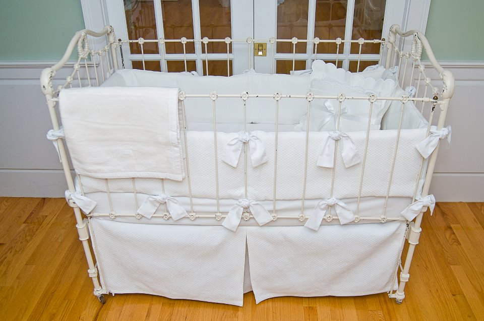 Matelasse Crib Bedding White By Sweet William Featured