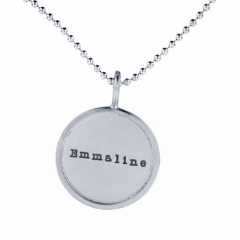 medium rimmed name necklace