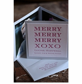 merry tri-fold holiday card