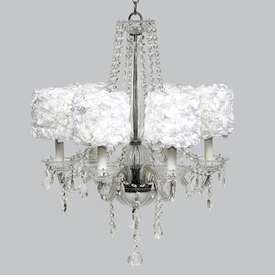 middleton 6 arm chandelier - white rose garden shades