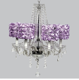 middleton chandelier - lavender rose drum shades