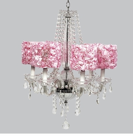 middleton chandelier - pink rose garden shades