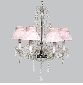 middleton chandelier - pink sheer ruffled shades