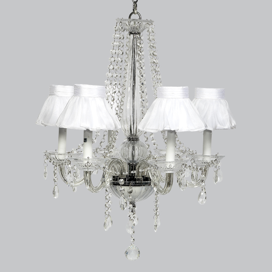 Middleton chandelier sheer white ruffled shades - White chandelier with shades ...