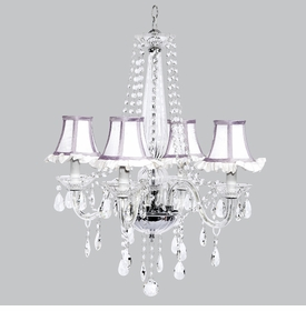 middleton chandelier white ruffled lavender trim shades