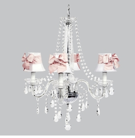 middleton chandelier white shades pink sash