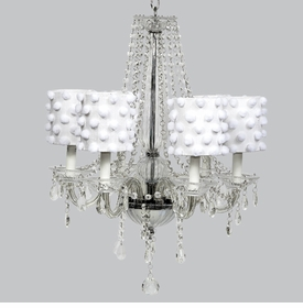 middleton chandelier - white shades with white pom poms