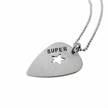 mini guitar pick with necklace