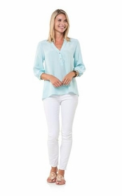 mint silk blouse with gold buttons