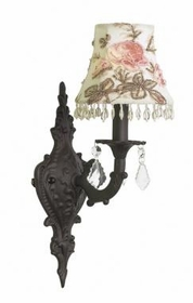 mocha 1 arm scroll wall sconce-rose print/brown bead shade