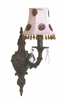 mocha 1 arm scroll wall sconce w/pink brown swirl shade