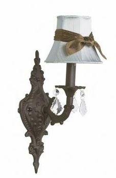 mocha 1 arm wall sconce w/ blue sash shade