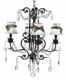 mocha 4 arm valentino chandelier w/blue shades