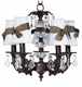 mocha 5 arm glass ball chandelier - blue sconce shade