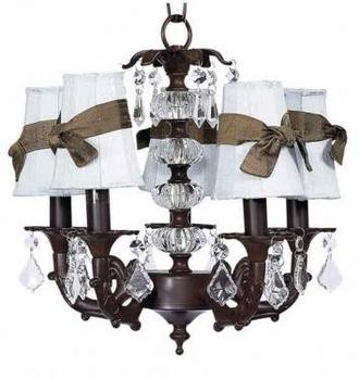 mocha 5 arm stacked glass ball chandelier