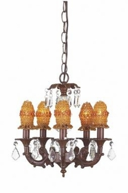 mocha 5 arm stacked glass ball chandelier-amber bulb covers