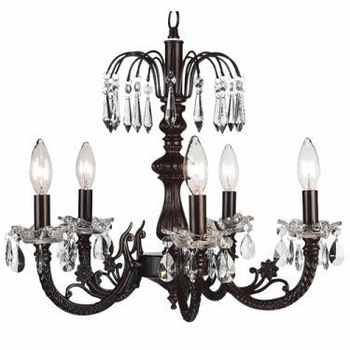 mocha 5 arm waterfall chandelier-rose print/brown bead shades