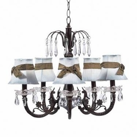 mocha 5 arm waterfall chandelier w/blue sash shades