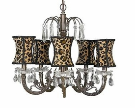 mocha 5-arm waterfall chandelier w/leopard shades