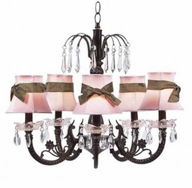 mocha 5 arm waterfall chandelier w/pink sash shades
