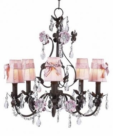 mocha/pink 5 arm flower garden chandelier-pink sconce shades