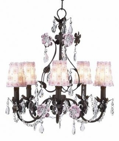 mocha/pink 5 arm flower garden chandelier w/sconce shades