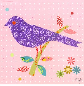 mod bird on light pink wall art