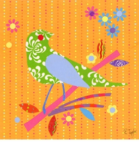 mod bird on orange wall art