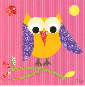 mod owl on pink wall art