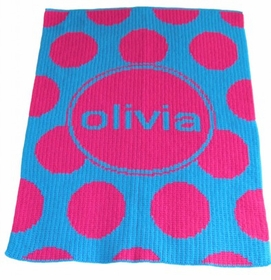 modern polka dot and name blanket