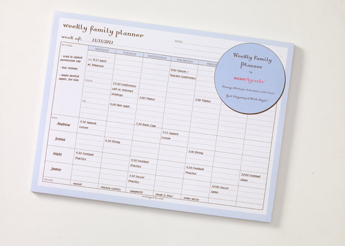 Momagenda Weekly Family Planner Desk Pad Featured At Babybox Com