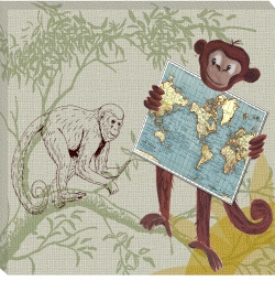 monkey canvas safari print