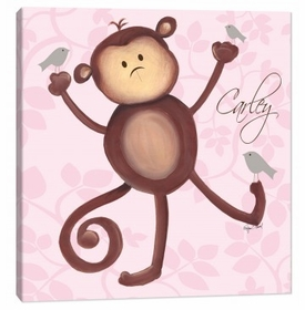 monkey wall art - pink