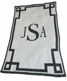 monogram and scroll blanket