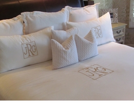 monogrammed bedding and linens