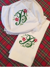 monogrammed embroidered holiday burp cloth and bloomer set