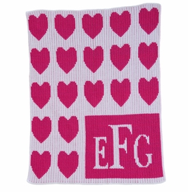 Monogrammed Lots of Hearts & Monogram Baby Blanket