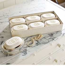 monogrammed luxury soap boxed set (set of 6)