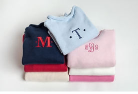 monogrammed roll neck pullover sweater