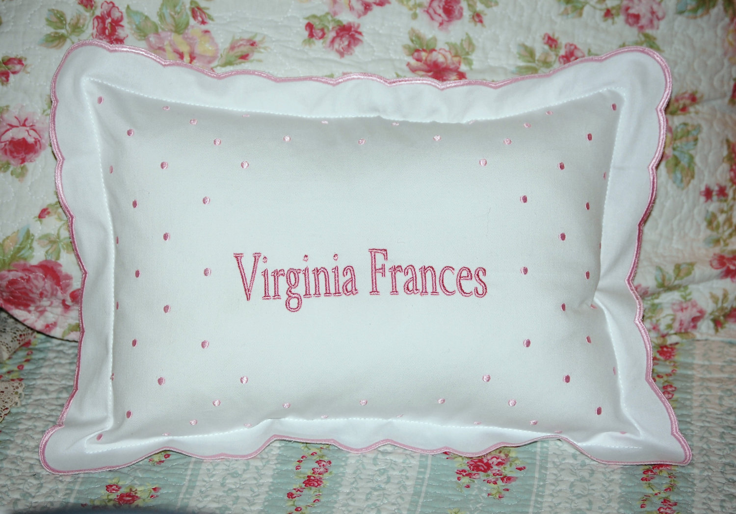 Custom Birth Announcement Pillow Embroidered with baby's