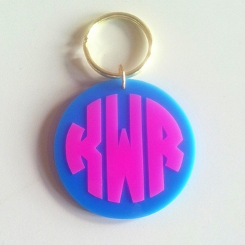 monogrammed two tone key chain (many colors available)