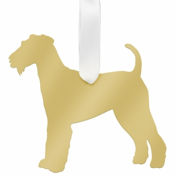 moon and lola airedale terrier christmas ornament - gold