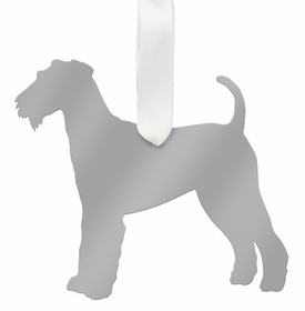 moon and lola airedale terrier ornament - silver