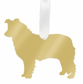 moon and lola australian shepherd christmas ornament - gold