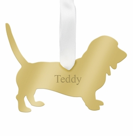 moon and lola bassett hound ornament - gold