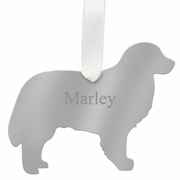 moon and lola bernese mountain dog christmas ornament - silver
