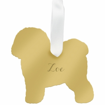 moon and lola bichon frise christmas ornament - gold