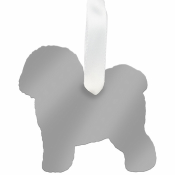 moon and lola bichon frise christmas ornament - silver