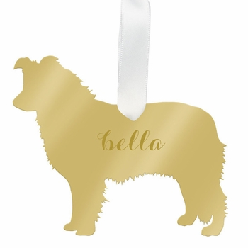 moon and lola border collie christmas ornament - silver