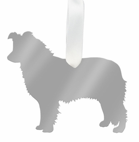 moon and lola border collie ornament - silver